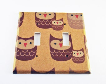 Double Light Switch Cover Switchplate Wall Decor in Sweet Owls (125D)