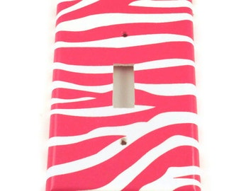 Light Switch Cover   Single Switchplate Switch Plate in Funky  Zebra Hot Pink  (095S)