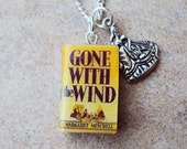 Gone With the Wind Necklace with Book Charm and Metal Scarlet Charm