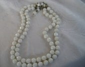 VINTAGE Double Strand Faceted White Glass Costume Jewelry Choker Necklace