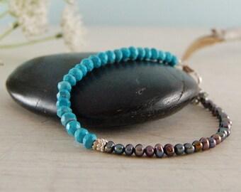 Dainty Turquoise Bracelet Peacock Pearl bracelet Sterling Silver