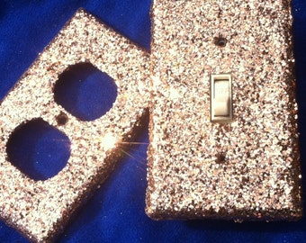Champagne Fawn Colored Glitter Switchplates