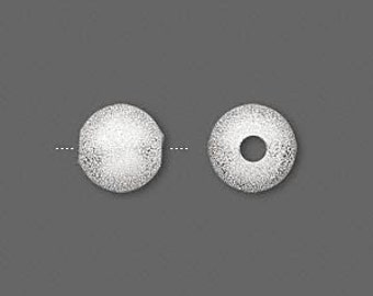 6 Stardust Glitter Ball Beads - 10mm Silver with a 2.9mm hole