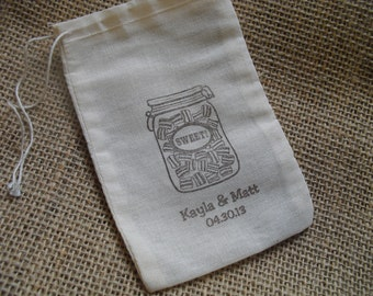 Personalized Vintage Candy Mason Jar Muslin Favor Bags Gift Bags or Candy Bags 4x6- Set of 10 - Item 4M1520
