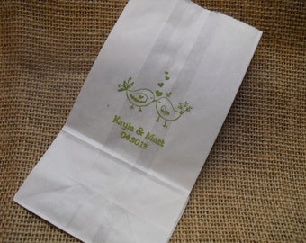 Love Birds Personalized Wedding White Paper Favor Bags Cookie Bags Candy Buffet Bags - Set of 10 - Item WP1521