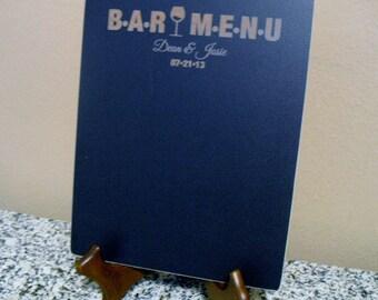 Chalkboard  - Personalized Wine Bar Menu Blackboard with Easel -  Item E1526