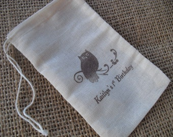 Favor Bags - SET OF 10 3x5 Personalized Owl Muslin Favor Bags Gift Bags or Candy Bags - Item 3M1228