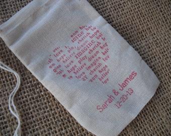 Personalized Newsprint Heart Wedding Shower Muslin Favor Bags 3x5 - Set of 10 - Item 3M1181