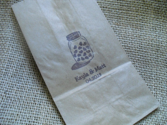 Mason Jar Wedding Personalized Favor Kraft Paper Bags Coffee