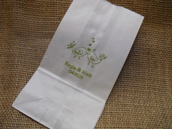 Love Birds Personalized Wedding White Paper Favor Bags Cookie