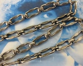 Silver Ox Plated Textured Link Chain 5001SOX