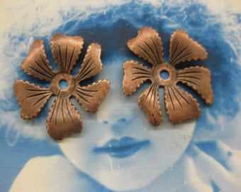 Vintage Copper Ox Plated Brass Flower Stampings 2193COP x2