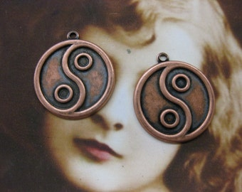 Copper Ox Plated Ying Yang Charms 513COP x2