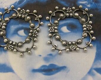 Silver Ox Plated Brass Pierced Floral  Filigree 521SOX  x2