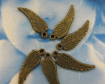 Angel Wing Charms in Bronze Ox Patina 365BRZ  x10