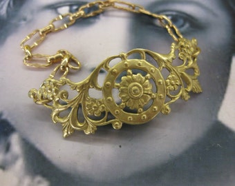 Natural Raw Brass Floral Ornate Filigree Bent or straight  1018RAW x1