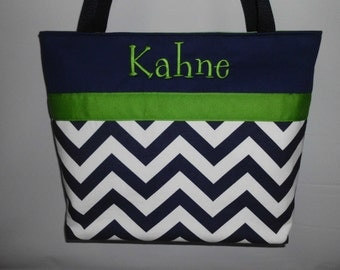CHEVRON  in NAVY  .. Green Accents  ...   TOTE ... Monogrammed  FReE