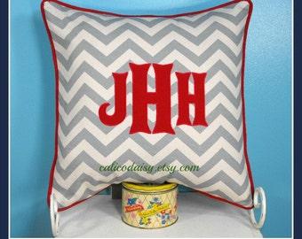 Heritage - Large Font Applique Monogrammed Pillow Cover Euro Sham - 20 x 20 square