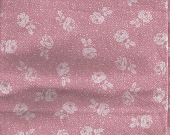 Cotton Fabric, Light Mauve Pink  and cream Flowers,  By the yard, 1/2 yard