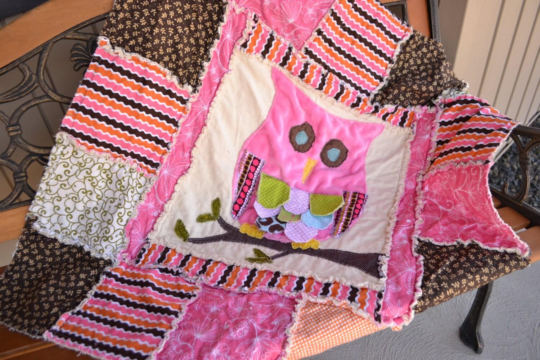 Rag Quilt Owl Pattern : RAG QUILT Pattern Owl Applique Baby Crib by avisiontoremember