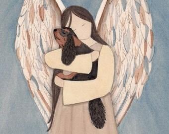 Black and tan King Charles Cavalier spaniel with angel / Lynch signed folk art print