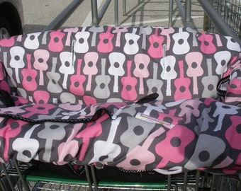 Shopping cart cover for girl  Boutique Shopping Cart Cover.....Groovy Guitars Blossom Pink