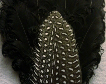 Black, Black fascinator, black and white, hair fascinator, wedding, guinea , holiday party, pearl, 1920s fascinator