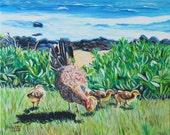 At the Beach with my Chicks print 8x10 from Kauai Hawaii blue ocean green brown