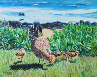 At the Beach with my Chicks print 8x10 from Kauai Hawaii blue ocean green brown