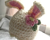 PDF PATTERN Fuzzy Bunny Hats Newborn to Youth sizes PLUS Carrot Rattle