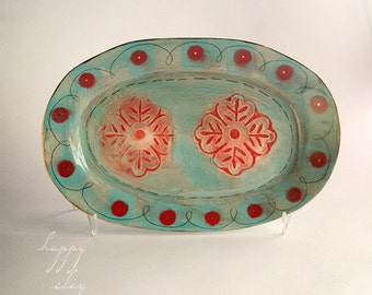Available in 14 days 11 x 17 inch ceramic primitive flower stamp serving platter