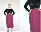 vintage pencil skirt / 80s silk skirt / purple pencil skirt 25 inch waist