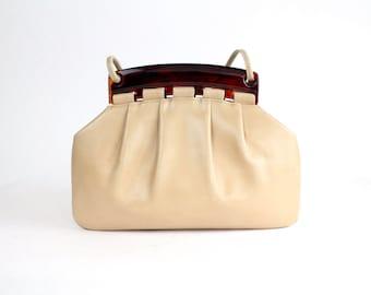 Vintage Block Handbag | Lucite Frame Bag | Vintage 60s Leather Purse