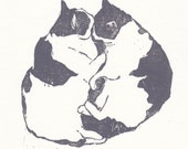 Original Woodblock Print of Snuggling Cats // Hand Carved and Pressed