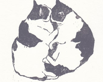 woodblock print of snuggling cats / cat lover gift / cat wall art