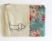 daschund dusty blue floral coin purse hand embroidery sausage dog