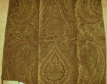 Brown Paisley Chenille Upholstery Designer Fabric Sample Highland Court 180350H