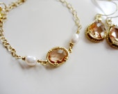 Pink Champagne Bracelet Earring Set, Blush Oval Champagne, Pearl, Gold Bridal, Wedding Jewelry, Bridesmaids