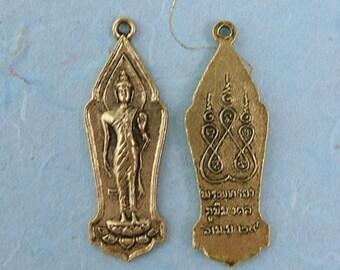 2 Tibetan Deity Charm in Golden Metal