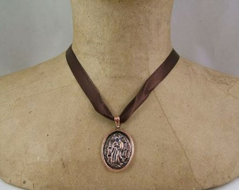 Our Lady of Guadalupe Necklace Featuring Hand Made Copper Amulet