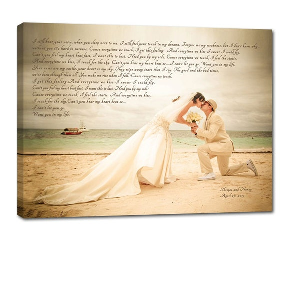 Personalized photo art Your PHOTO printed Canvas Wedding Reception Decor  text and words Photo Wedding 24X36