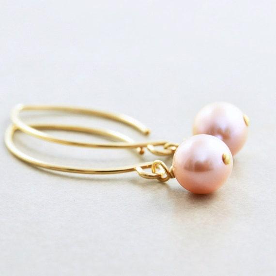 Pink Pearl Earrings, June Birthstone, Bridesmaid Gift