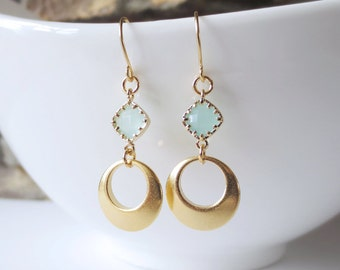 Mint Hoop, Drop Earrings, Dangle, Bridesmaid Earrings,Wedding jewelry, Gold Feather, Jewelry Gift, Mother's Day