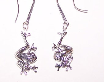 Sterling Silver 3D COQUI FROG Earrings - Islands, Puerto Rico, Totem