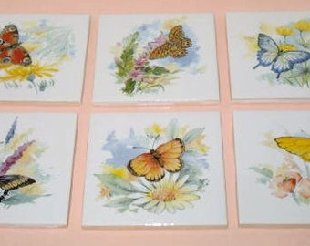 Butterfly Ceramic Tile Coaster Set, ButterflyTrivet Set of 6, Butterfly Wall Placque