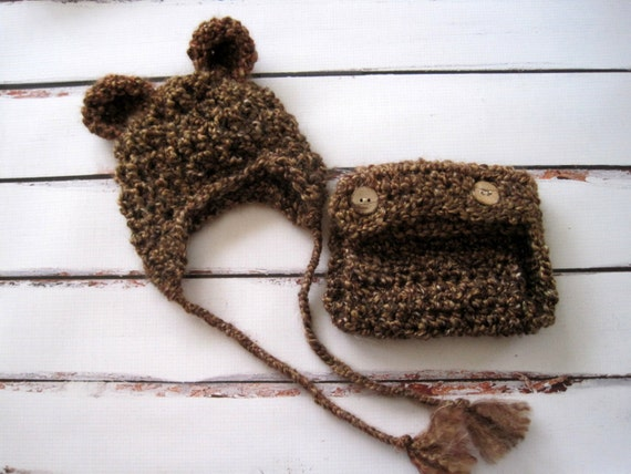 Crochet Baby Hat, Baby Bear Hat, Crochet Bear Hat, Hat and Diaper Cover Set, Baby Girl Hat, Baby Boy Hat, Newborn Hat, Infant Hat, Brown
