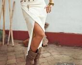 PIXE SKIRT LONG - Faery fairy costume Boho Hippie Burning man Bohemian Elf Fantasy - Wedding Bride - Off white cream