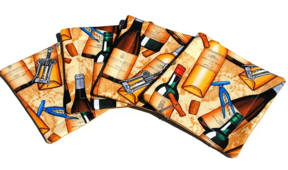 Handmade Quilted  Coasters set of 4 Wine Bottles