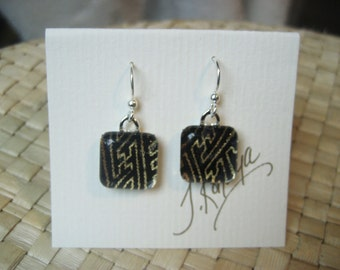 Japanese washi origami paper glass tile earrings by cra1nes on etsy