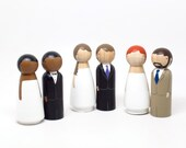 Semi-Custom Personalized Wedding Cake Toppers Bride/Groom Wedding Decor The Original Peg Dolls - Fair Trade Wooden Dolls